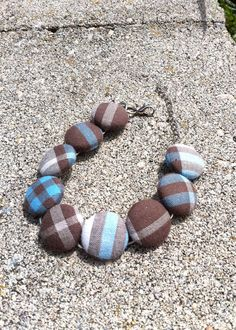 Brown and blue plaid cloth covered button by JessNiceCreations, $12.00