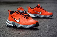 Nike Air Monarch Swoosh Hazard Custom by Shme - Nike Monarch Customs Air Max Sneakers, Sneakers Nike, Nike Air Monarch, Dad Shoes, Custom Shoes, Nike Air Max, Tommy Hilfiger, Footwear, Stylish