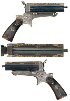 Gold decorated four shot derringer, crafted in Eibar, Spain, mid 19th century.