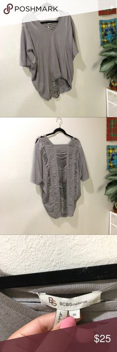 BCBGeneration Grey Cut Out Top Super cute cut out top BCBGeneration Tops