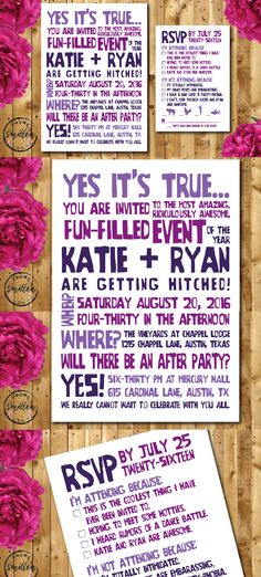 Funny + unique wedding Invitation and RSVP! Set the tone for your wedding to be filled with fun, awesome-ness and merry-making! For more details or to purchase, visit https://www.etsy.com/listing/267236625/fun-printable-wedding-invitation-suite?ref=shop_home_active_1. Design by Smitten Paper Co.