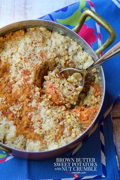 Brown Butter Sweet Potatoes with Nut Crumble: We took all of our favorite ingredients and baked them into a casserole; brown butter, maple syrup, sweet potatoes and pecans seasoned with cinnamon spice. Be sure to add this to your holiday menu! My Favorite Food, Favorite Recipes, A Food, Food And Drink, Crumble Recipe, Cinnamon Spice, Mashed Sweet Potatoes, Sweet Potato Recipes, Brown Butter