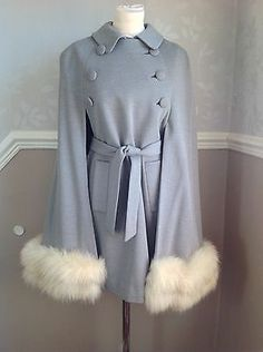 Vintage cape fox fur coat VGC Grey wool swing coat