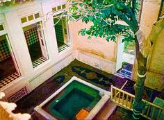 The 'courtyard of the holy 'House of the Bab' as it was in Shiraz, Iran.