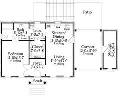 Southern Style House Plan - 1 Beds 1 Baths 815 Sq/Ft Plan #406-9619 Floor Plan - Main Floor Plan - Houseplans.com