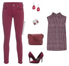 """""""Monochromatic Merlot"""" by style-by-shannon-leeper ❤ liked on Polyvore featuring True Religion, Oscar de la Renta, Charles by Charles David, Tory Burch, Ippolita and Ross-Simons"""