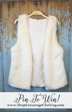 We are giving away ONE of our *NEW* White Faux Fur Vests!! Like this Pin, Comment on your size and PIN to your favorite board! We will select a winner on Tuesday, January 20th! HAPPY PINNING!