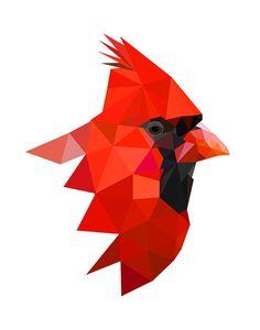 B58 Northern cardinal art print Geometric Bird by villavera