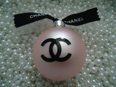CHANEL INSPIRED PINK ROUND GLASS CHRISTMAS TREE ORNAMENT CC RIBBON GIFT LARGE