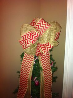 Burlap and Red Chevron Bow Tree Topper by MandMPrims on Etsy, $30.00
