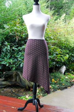 Small  Burgundy and Gold Flower of Life Midcalf Skirt  by Onanya, $68.00