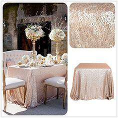 ShinyBeauty Champagner Pailletten Tischläufer 12x108Inch Prickelnde Leinen Läufer Hochzeit Partei Bankett Dezember Rechteck Tisch oder