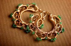 Gold Filigree Medium Hoop Earrings Encrused w/ Emerald: Nalla. $345.00, via Etsy.