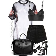 A fashion look from July 2015 featuring Givenchy blouses, Topshop shorts and T By Alexander Wang. Browse and shop related looks. Stage Outfits, Teen Fashion Outfits, Kpop Fashion, Rock Outfits, Emo Outfits, Fashion Flats, Night Outfits, Punk Fashion, Fitness Fashion