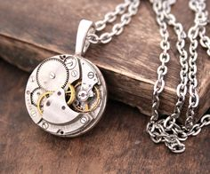 Steampunk Necklace Costume Jewelry for Her Gothic Necklace Watch Movement Pendant Necklace Steam Punk Jewellery / Xmas Gifts for Teens