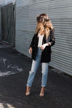weekend outfit: boyfriend jeans x oversized blazer - Jeans Black - Ideas of Jeans Black - weekend outfit: boyfriend jeans x oversized blazer Fashion Mode, Look Fashion, Autumn Fashion, Spring Summer Fashion, Style Summer, Fashion Black, Petite Fashion, Woman Fashion, Daily Fashion