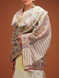 Buy Off White Multi Color Fine Kalamkari And Embroidery Kashmir Pashmina Shawl Shawls Embroidered Online at Jaypore.com