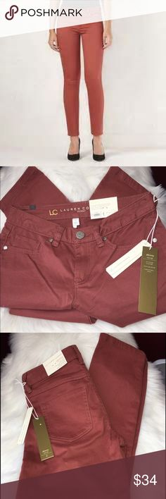 """LC Lauren Conrad Brushed Twill Pants Super soft Brushed Twill material on these skinny cut pants by Lauren. 5-pocket. Stretchy Twill construction. Zipper fly. Mid rise sits above hip. Size: (2) approx 28""""inseam . Polyester/cotton/Rayon/Spandex. Color: Rose Brand new with tags. LC Lauren Conrad Pants Skinny"""