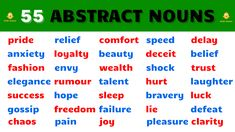 Learn English words Abstract Nouns. List of Abstract Nouns in English Grammar. Abstract Nouns in sentences. Improve your English vocabulary with English Abstract Nouns. Everyday Abstract Nouns, Abstract Noun vocabulary and Abstract Noun words. English beginner words to learn daily use English words for abstract nouns pronounced in British English. English Beginner, English For Beginners, English Vocabulary, English Grammar, Abstract Nouns, English Teachers, Improve Your English, British English, Learn English Words