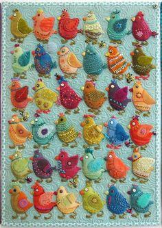 Birds in hand-dyed wool by Sue Spargo | Quilt Eye Candy ~> Bird Play - Chicks by Sue Spargo http://stitchinpostinsisters.typepad.com/stitchin_post_in_sisters/2014/11/sue-spargo-bird-play-.html