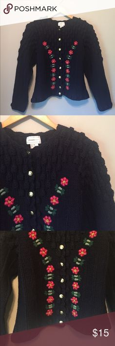 VTG 80s sweater Great 100% wool sweater with embroidered flowers, labeled a Medium. Excellent vintage Condition. Vintage Sweaters Cardigans