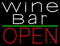 White Wine Bar Open Neon Sign 24 Tall x 31 Wide x 3 Deep, is 100% Handcrafted with Real Glass Tube Neon Sign. !!! Made in USA !!!  Colors on the sign are Red, White and Yellow. White Wine Bar Open Neon Sign is high impact, eye catching, real glass tube neon sign. This characteristic glow can attract customers like nothing else, virtually burning your identity into the minds of potential and future customers.
