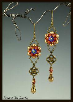 Beaded Beadwoven Beadwork Swarovski Crystal by beadedartjewelry