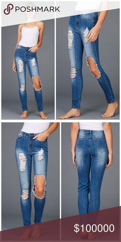 Arriving soon! Distressed High Waisted Jeans! Super flattering high waisted cut in medium wash with intentional whiskering stretch distressed jeans Jeans Skinny