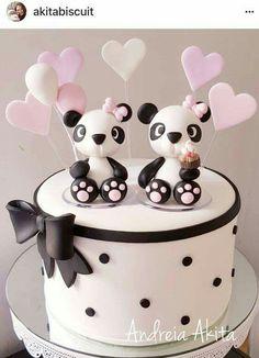 Fondant Cakes, Cupcake Cakes, Bolo Panda, Panda Panda, Panda Cakes, Animal Cakes, Valentine Cake, Just Cakes, Specialty Cakes