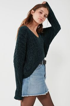 5d4b5897cce Shop Silence + Noise Slouchy Chenille High Low V-Neck Sweater at Urban  Outfitters