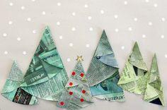 tannenbäume papier origami einfach kinder easy kids fold christmas tree paper niños papel arbol navidad facil plegar