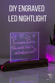 Full tutorial on how to engrave acrylic and make a LED nightlight gift! #anikasdiylife #cricutmade