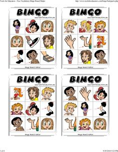body-parts-bingo by Joanne Chen via Slideshare Spanish Lessons For Kids, English Lessons, Learn English, English Activities, Vocabulary Activities, 1st Grade Worksheets, Worksheets For Kids, Birthday Emoticons, Bingo For Kids