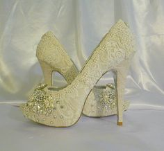 Twinkle Toes vintage lace wedding shoes 5 1/4 inch heel and peep toes. $305.00, via Etsy.