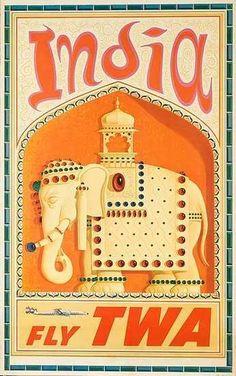 TWA - India vintage travel poster