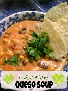 Chicken Queso Soup with Roasted Corn and Jalapeno: Crockpot recipe, 7 WW points