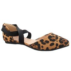 a23695f6db06 Women s Criss Cross Comfort Elastic Ankle Strap Toe Ballet Flat  (Leopard-B). Finished with a lightly padded insole