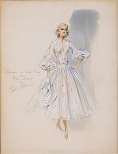"Helen Rose´ sketch for Grace Kelly in ""High Society"" 1956 The sketch is for the wedding dress featured in the film. Dress is on display at McCord Museum, Montreal until Oct 6/13, then it travels to Doylestown,PA for an exhibit at the Michener Museum."