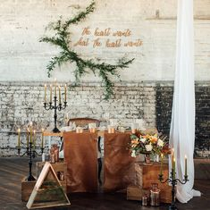 leather + vine tablescape