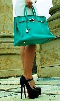 teal hermes...these bags are just so expensive...in Paris at night you see the hookers carrying them...seriously