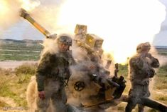 MILITARY FUN - SHOCK WAVE OF ARTILLERY BLAST BLOWS DUST OFF SOLDIERS!
