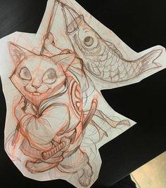 Эскиз тату с котом и рыбкой