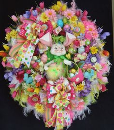 XXL Easter wreath, Spring wreath, Door wreath, Annalee bunny, chick, daisies, Happy Easter, front door wreath by WreathsbyKimberly on Etsy https://www.etsy.com/listing/181862901/xxl-easter-wreath-spring-wreath-door