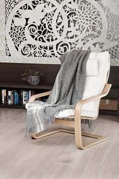 """Present idea, Scandinavian style, 100% natural not colored wool throw, easy to care, no synthetics woolen blanket """"BOTEH 36"""""""