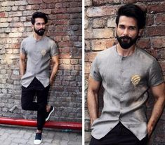 Yay or Nay? Shahid Kapoor in this grey satin shirt with black pants Mens Indian Wear, Indian Groom Wear, Indian Men Fashion, Mens Fashion Suits, Wedding Dresses Men Indian, Wedding Dress Men, Boys Kurta Design, Outfits Hombre, Grey Shirt Outfits