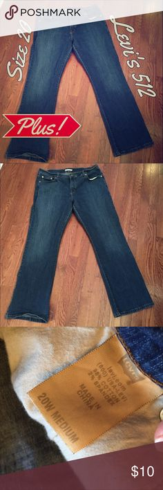 Levi's 512 boot cut, dark rinse jeans, size 20 Size 20 but runs SMALL!!! I wore these when I was a size 16, now they just don't fit anymore. 😕 They're still in great shape, they are the slimming, booty-enhancing boot cut style in a dark, distressed rinse. They don't have any of that wear between the legs that jeans can get--so they are in great shape! Levi's Jeans Boot Cut