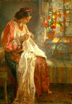 Seamstress Nicolae Vermont Romanian Read More HERE Vermont, Monet, Sewing Art, The Last Judgment, Henri Matisse, Female Art, New Art, Folk Art, Needlework