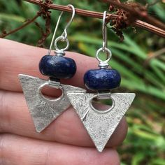Sterling silver and lapis lazuli triangular earrings £55.00