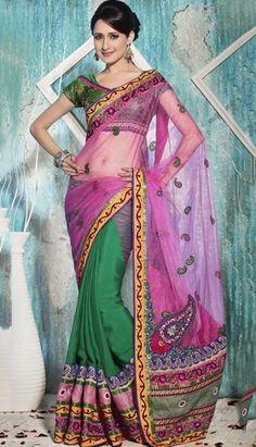 Buy Pink Net And Pure Banarasi Silk Designer Saree-  #DesignerSaree Link-http://alturl.com/qz2fw