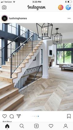 stairs, wood white and black, hanging lantern pendants - treppe. Planchers En Chevrons, Home Interior Design, Interior And Exterior, White House Interior, Interior Trim, House Goals, Stairways, My Dream Home, Future House